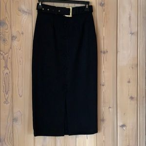 100% Wool Gold belted Pencil Skirt from Italy